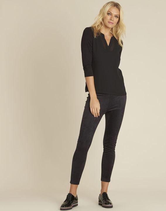 Zwart T-shirt met Tunesische kraag en driekwartmouwen Bianca (2) - 37653