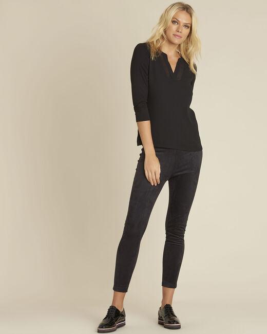 Schwarze Bluse aus Bimaterial mit V-Ausschnitt Bianca (1) - 1-2-3