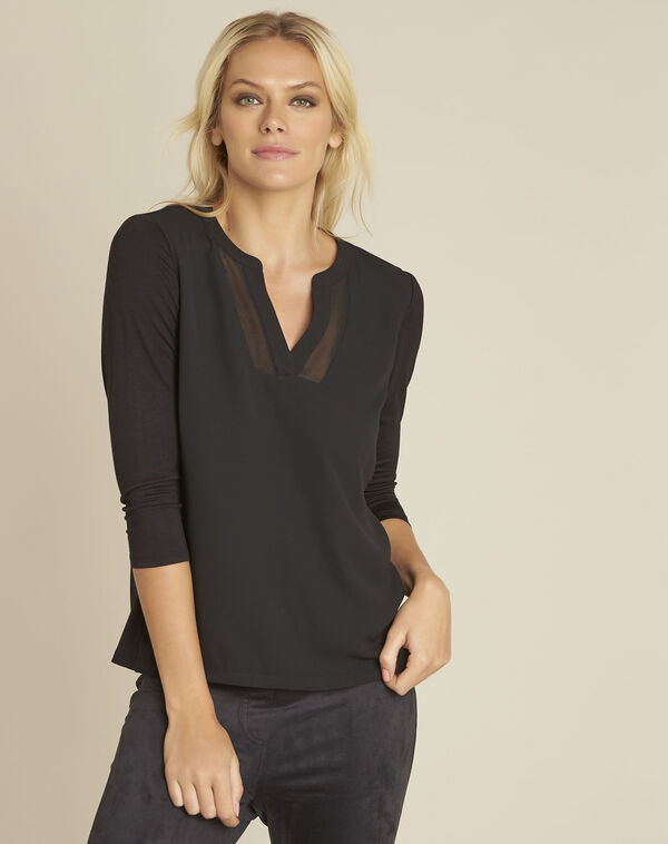 Bianca black bi-material blouse with V-neck (1) - 1-2-3