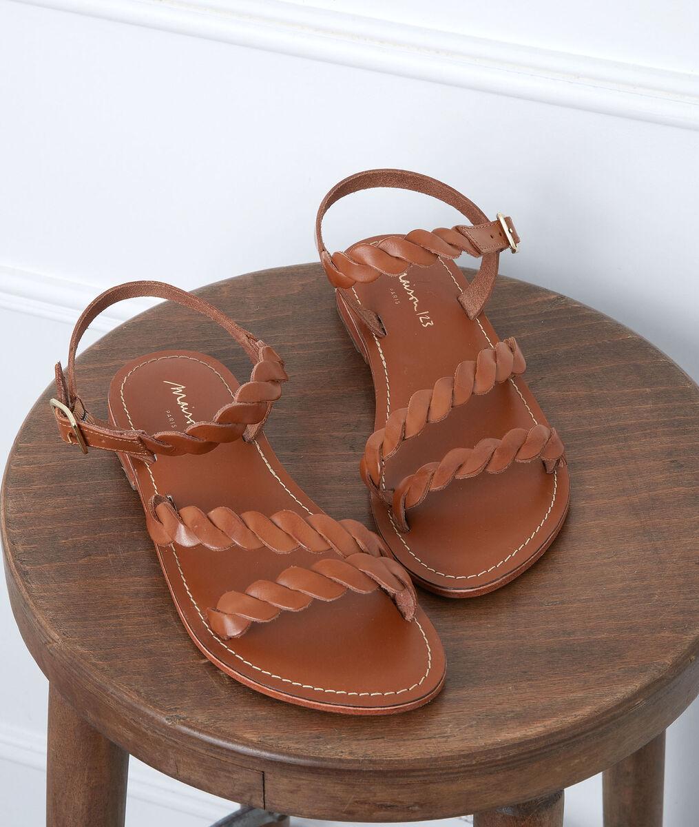 Sandales plate en cuir camel Gema PhotoZ   1-2-3