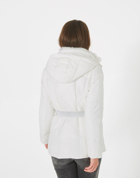 Livia white puffer jacket with a belt (4) - 1-2-3