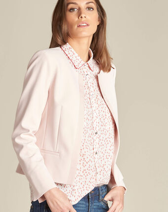 Charme pink cropped jacket in microfibre salmon.