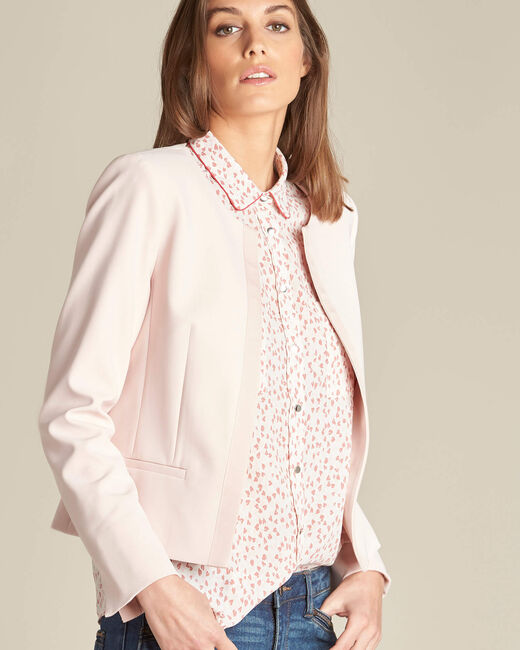 Charme pink cropped jacket in microfibre (1) - 1-2-3