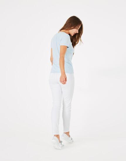Tee-shirt bleu ciel col strassé Neck (5) - 1-2-3