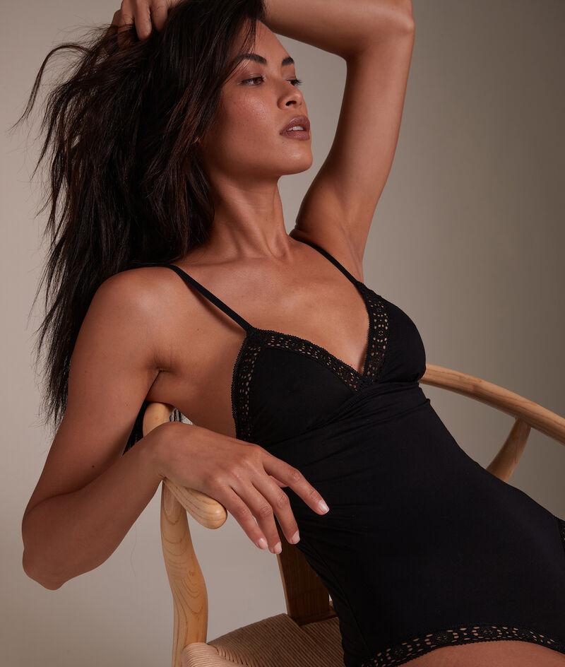 Body en coton responsable et dentelle française noir Ninon PhotoZ | 1-2-3