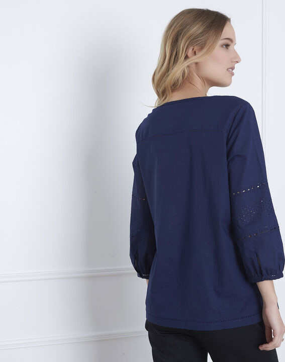 Marineblaue Bluse mit englischer Stickerei Verveine (4) - Maison 123