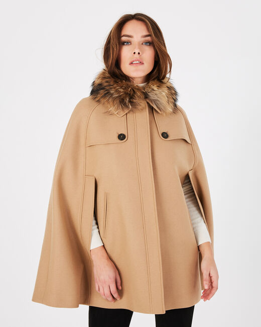 Jackie camel wool cape with fur collar (1) - 1-2-3