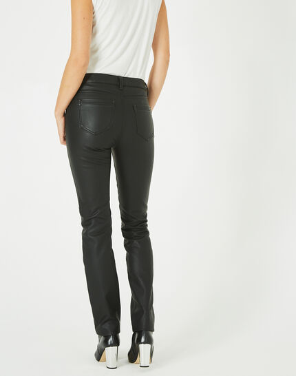 Pantalon noir slim faux cuir William (4) - 1-2-3