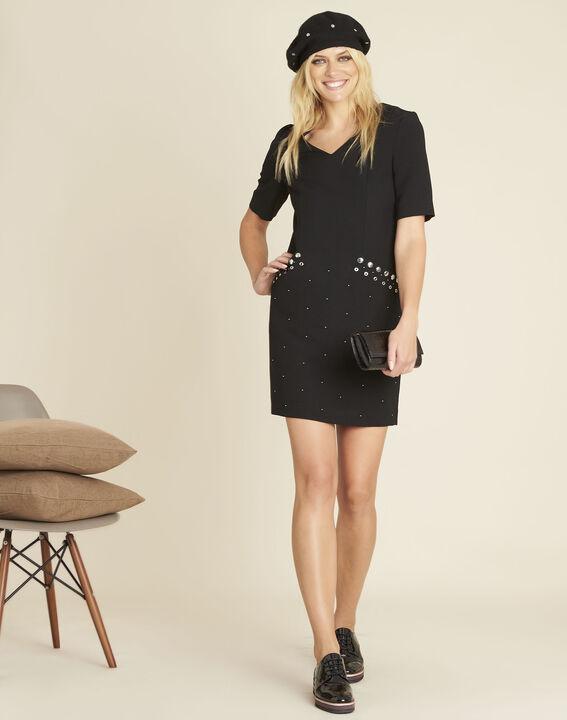 Kompaktes schwarzes Kleid mit Nieten an den Taschen Daisy (2) - 1-2-3