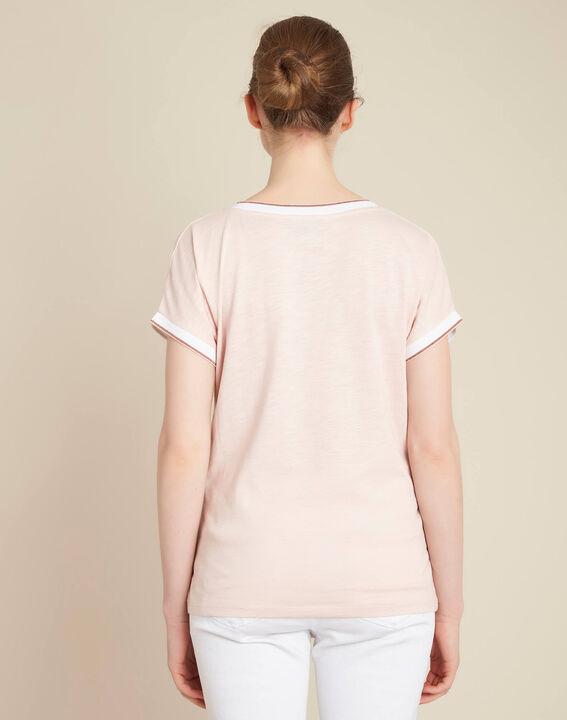 Gauttier V-neck pale pink T-shirt with gold trim (4) - 1-2-3