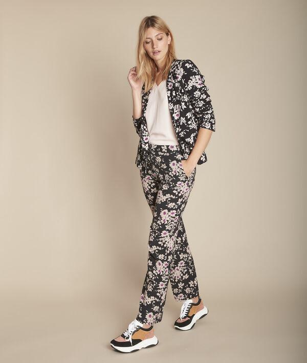 Pantalon noir imprimé fleuri Efron PhotoZ   1-2-3