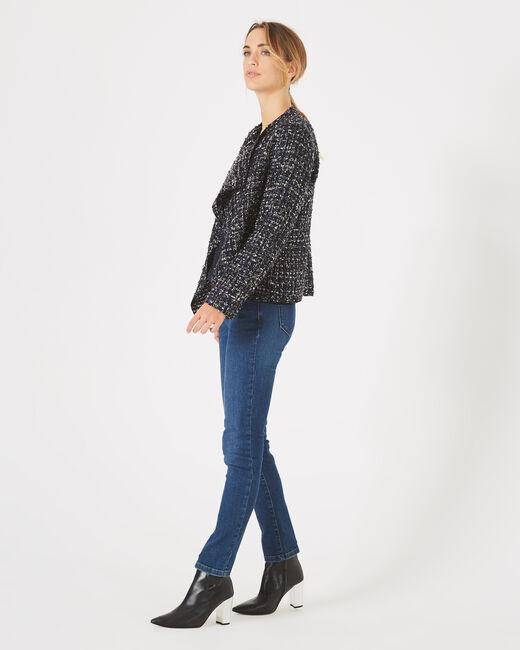 Mouna dark indigo jacket in tweed (1) - 1-2-3