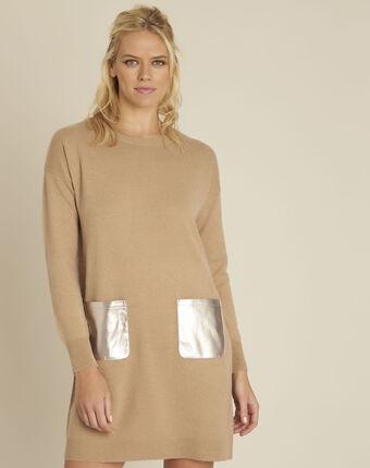 Robe camel poche faux cuir en maille baltus havanabraun.