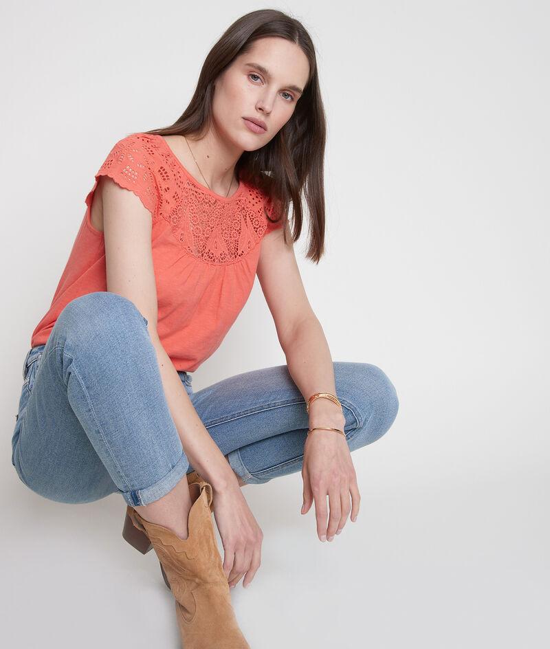 Tee-shirt en coton et dentelle corail Ecume PhotoZ | 1-2-3