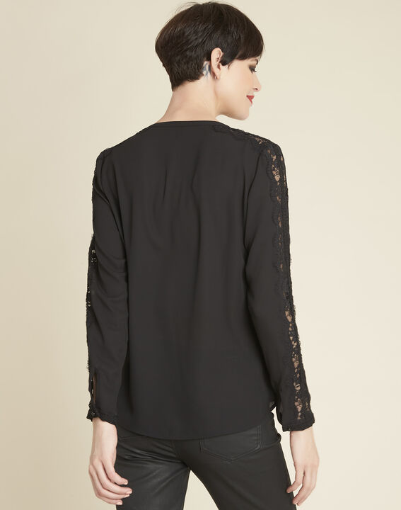 Claudia black blouse with lace yoke (4) - 1-2-3