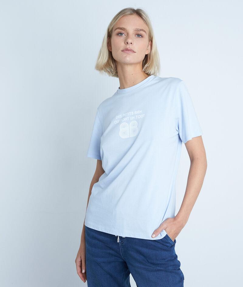 Himmelblaues T-Shirt aus Bio-Baumwolle und Modal Ecrin PhotoZ | 1-2-3