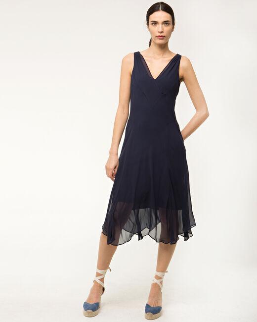 Robe bleue mi-longue en soie Foret (1) - 1-2-3