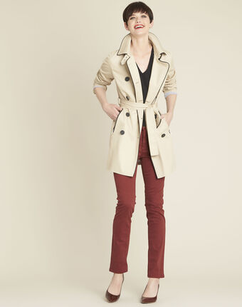 Eclipse beige cotton mix trench coat with contrasting bias buttercup.
