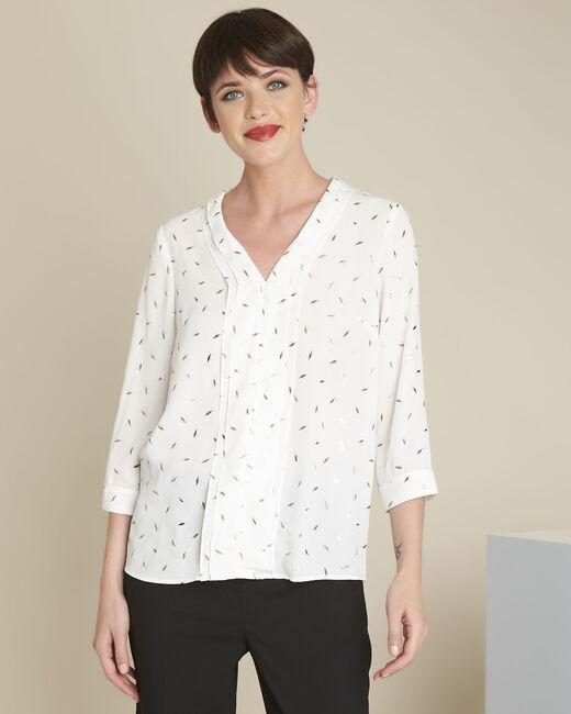 Ecrufarbene Bluse mit Druckmuster Elea (2) - 1-2-3