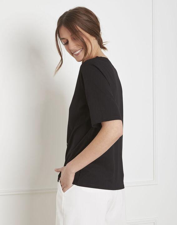 Tee-shirt noir motif floral Palais (4) - Maison 123