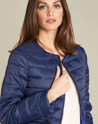 Yvana navy blue fine quilted jacket navy.