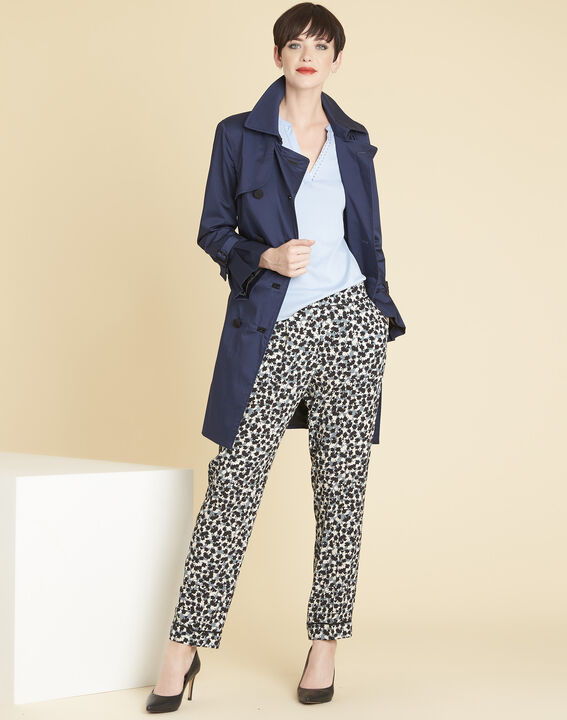 Douglas navy blue tapered trousers with print (2) - 1-2-3