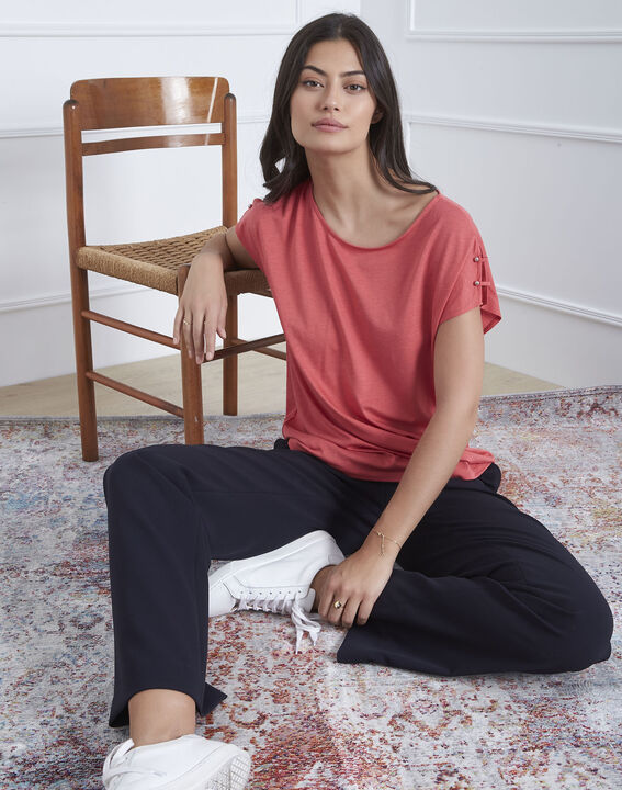 Rosafarbenes T-Shirt mit Schulter-Details Palmbeach PhotoZ | 1-2-3