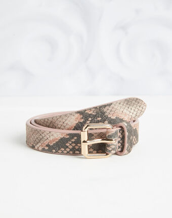 Rita pale pink python print leather belt light pink.