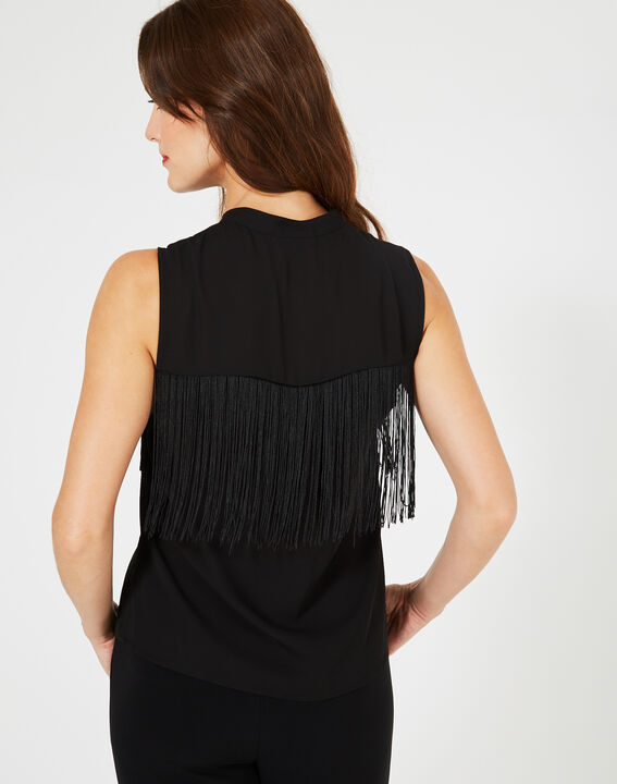 Yellow black fringed top (4) - 1-2-3