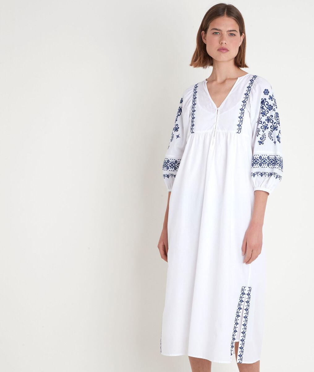 Witte lange jurk met borduurwerk Sophie PhotoZ | 1-2-3