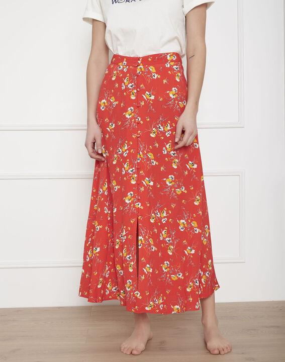 Jupe rouge longue imprimé fleuri Saya (2) - Maison 123