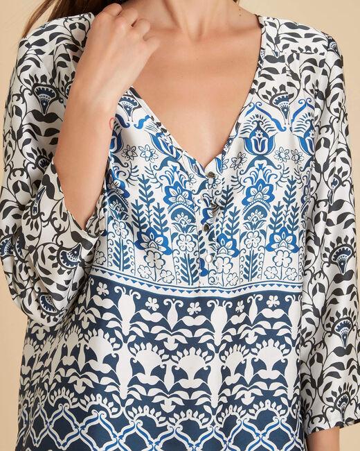 Douna navy blue printed blouse (2) - 1-2-3