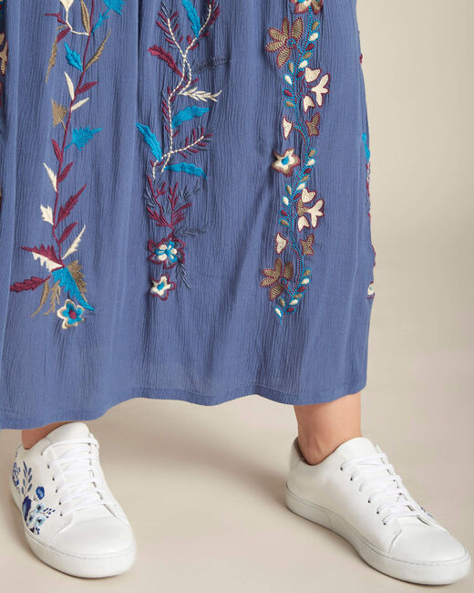 Lucy long embroidered blue skirt (1) - 1-2-3