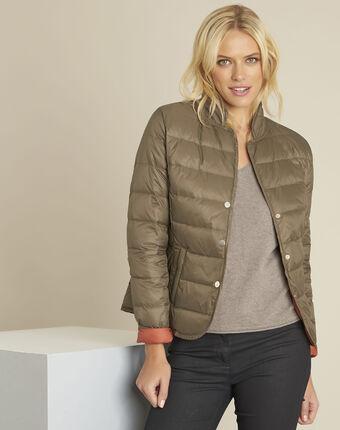 Penny short khaki down jacket with orange lining leaf.