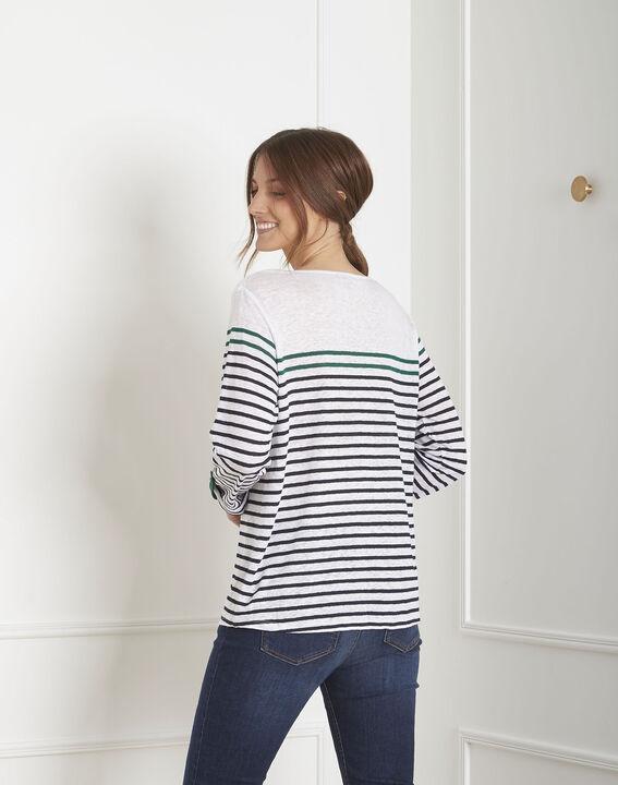 Tee-shirt blanc rayé en lin Pise (4) - Maison 123