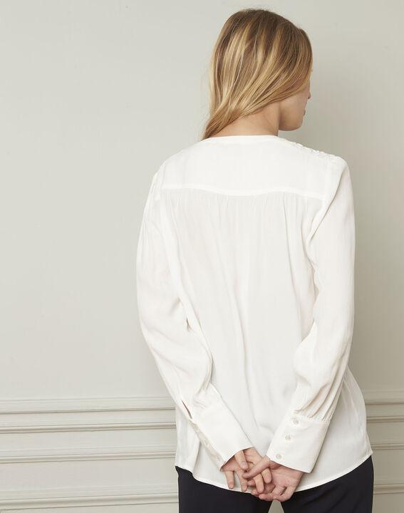 Ecrufarbene Bluse mit V-Ausschnitt aus Viskose Valda (3) - Maison 123