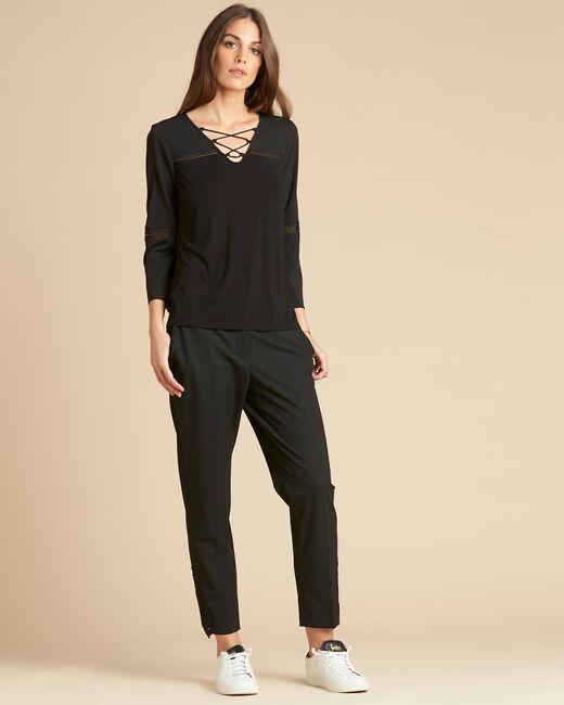 Zwarte blouse uit twee materialen met kanten inzetstukken Echecs (1) - 37653