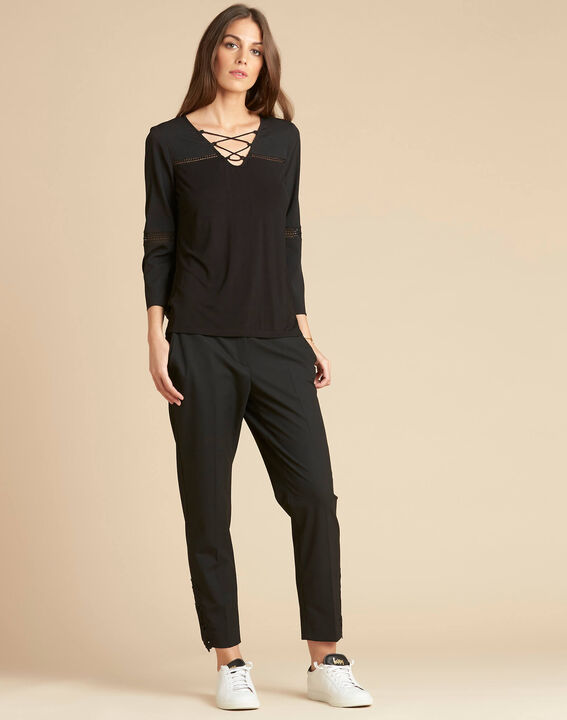Echecs black dual-fabric blouse with lace insets (2) - 1-2-3