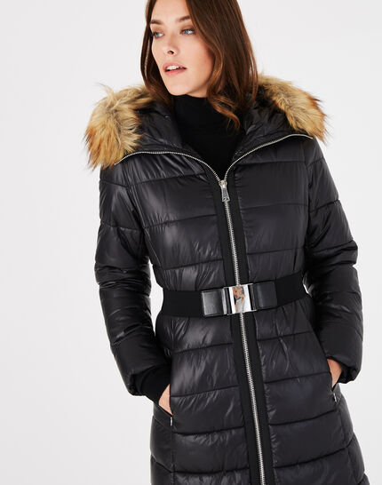 Louna long black puffer jacket with faux fur (1) - 1-2-3