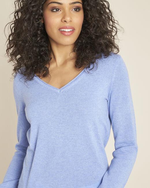 Blauwe trui van kasjmier met V-hals Pivoine (1) - 37653