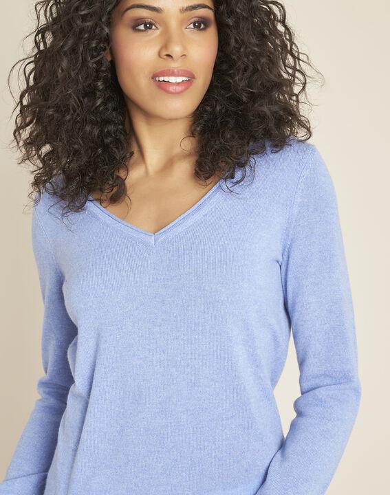 Blauwe trui van kasjmier met V-hals Pivoine (3) - 37653