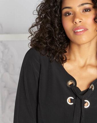 Zwarte blouse met veters domino noir.