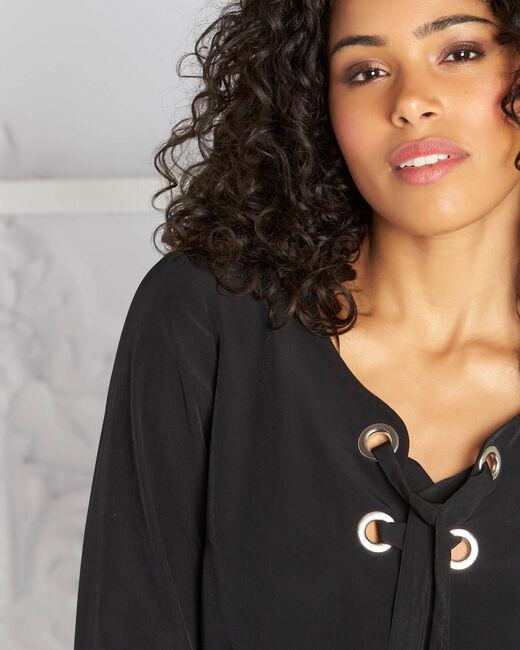 Zwarte blouse met veters Domino (2) - 37653