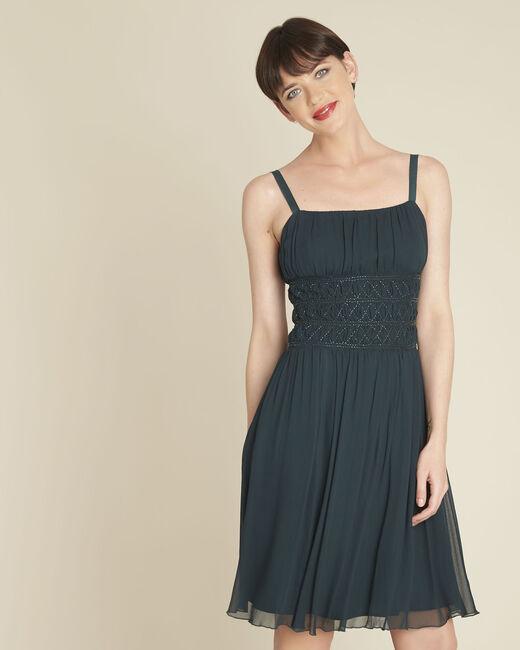 Groene soepele jurk met parels Ivy (2) - 37653