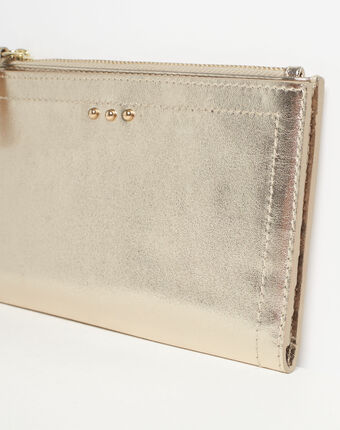 Dita wallet with two leather flaps in gold gold.