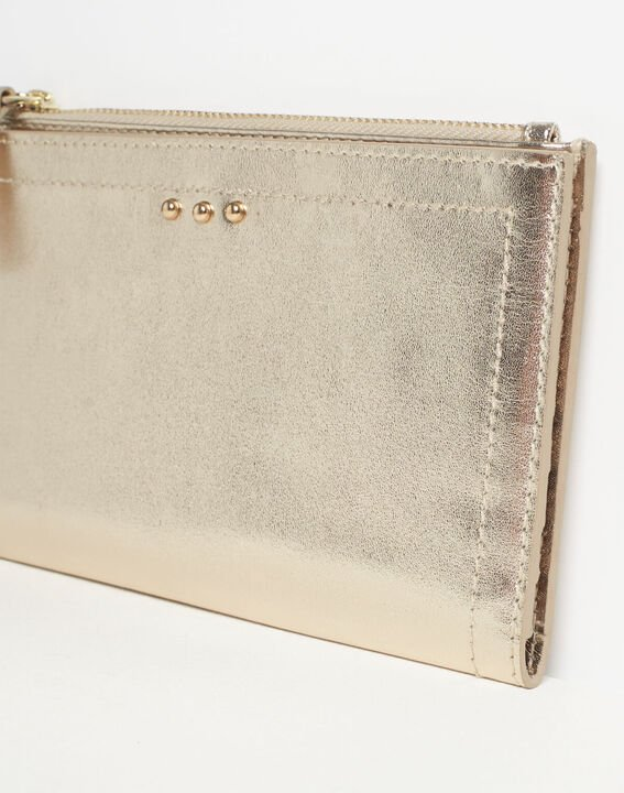 Goldenes Leder-Portemonnaie mit zwei Klappen Dita PhotoZ | 1-2-3
