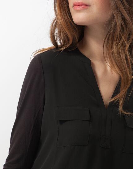 Schwarzes T-Shirt im Materialmix Leden (5) - 1-2-3