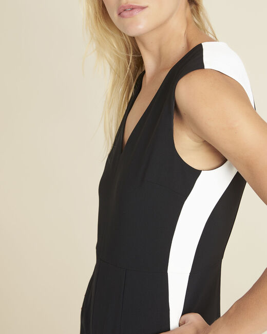 Dorine black crêpe playsuit with lateral bands (2) - 1-2-3