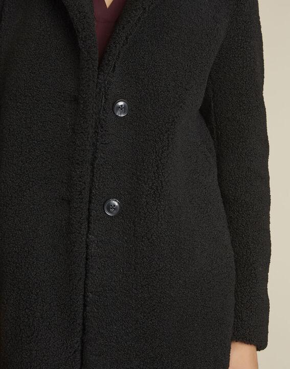 Manteau noir aspect laine bouillie Elvire (3) - 1-2-3