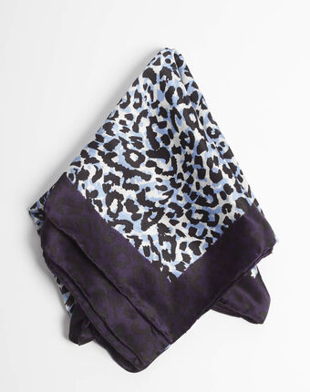 Adoucha leopard print square scarf in blue mid blue.